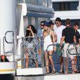 Cara Delevingne, Selena Gomez et Tommy Chiabra sont accueillis par le milliardaire Alshaire Fiyaz sur son nouveau yacht, le Ecstasea, à Saint-Tropez, le 21 juillet 2014.