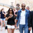 Tony Parker et sa fiancée Axelle lors de leurs vacances à Saint-Tropez, le 1er juillet 2014.