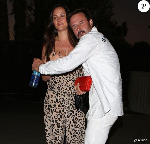 David Arquette et Christina McLarty au concert d'Eminem et de Rihanna au Rose Bowl à Los Angeles, le 7 août 2014.