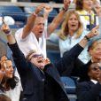 Robin Williams et Dustin Hoffman regardant un match d'Andre Agassi à New York le 11 septembre 2005