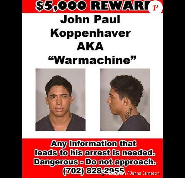 """John Paul Koppenhaver dit """"Warmachine"""", petit ami de la star de films X Christy Mack, était recherché par la police. Une récompense de 5000 dollars a même été promise contre le combattant de MMA."""