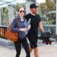 Emily Blunt et son mari John Krasinski sortent de la salle de sport Equinox Gym à Los Angeles. Le 7 mai 2014.