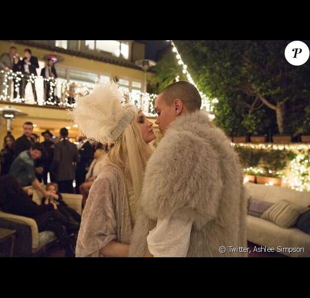 Jessica Simpson et Evan Ross lors de leur fête de fiançailles, le 27 mars 2014