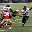Ray Rice des Baltimore Ravens lors du Super Bowl XLVII le 3 février 2013 contre les San Francisco 49ers. Le running back a été limogé le 8 septembre 2014 après la publication d'une vidéo le montrant mettre KO sa compagne Janay Palmer le 15 février dans un casino d'Atlantic City.