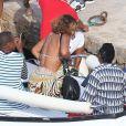 Beyoncé, Jay Z et Gloria Carter, en vacances aux îles de Lerins, retournent à bord de leur yacht. Cannes, le 8 septembre 2014.