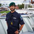 Le prince Carl Philip de Suède pose le 31 août 2014 à bord du HMS Carlskrona dans le cadre de l'exercice militaire Northern Coasts en mer Baltique.