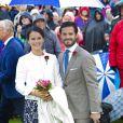 Le prince Carl Philip et sa fiancée Sofia Hellqvist lors des 37 ans de la princesse Victoria le 14 juillet 2014.