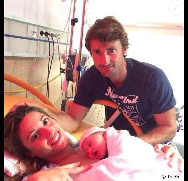 Juan Carlos Ferrero et Eva Gil après la naissance de leur fille Vega le 9 septembre 2014.