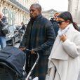 Kanye West, Kim Kardashian et leur fille North arrivent à Gare du Nord, via un Eurostar en provenance de Londres. Paris, le 24 septembre 2014.