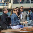 George Clooney et Amal Alamuddin à leur arrivée avec leurs amis Cindy Crawford et Rande Gerber à Venise le 26 septembre 2014 pour le week-end de leur mariage.