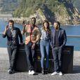 """Olivier Nakache, Omar Sy, Charlotte Gainsbourg et Eric Toledano - Photocall du film """"Samba"""" lors du 62e festival du film de San Sebastian. Le 27 septembre 2014"""
