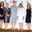 La princesse Charlene de Monaco, enceinte de près de 7 mois, lors de la séance photo du 7e Forum mondial sur l'autisme à New York le 25 septembre 2014
