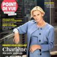 La princesse Charlene de Monaco, enceinte, fait la couverture de Point de Vue, en date du 1er octobre 2014, à l'occasion de son déplacement à New York.