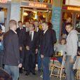 """Exclusif : François Hollande et Audrey Azoulay, nouvelle conseillère à l'Elysée pour la culture et communication,  sont allés voir la pièce """"Hôtel Europe"""" de Bernard-Henri Lévy au Théâtre de l'Atelier à Paris, le 3 octobre 2014."""