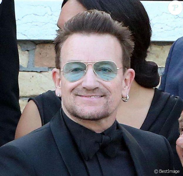 Bono - George Clooney et ses invités se rendent à son mariage avec Amal Alamuddin à Venise, le 27 septembre 2014.
