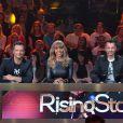 """David Hallyday, Cathy Guetta, Morgan Serrano, Cali - Quatrième prime de """"Rising Star"""" sur M6. Jeudi 16 octobre 2014."""