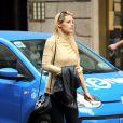 Michelle Hunziker, enceinte, s'est rendue dans une boutique Prada à Milan. Le 21 octobre 2014.