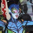 """Heidi Klum délirante dans un costume de papillon alien pour la 15ème soirée """"Moto X"""" d'Hallloween au """"TAO Downtown"""". New York, le 31 octobre 2014."""