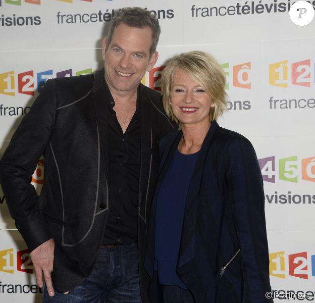 Garou et Sophie Davant - Conférence de presse pour le Téléthon à France Télévisions à Paris. Le 4 novembre 2014.