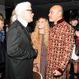 """Karl Lagerfeld, Ashley Olsen et Christian Louboutin assistent au dîner """"Louis Vuitton celebrating Monogram"""" organisé par Louis Vuitton au MoMA. New York, le 7 novembre 2014."""