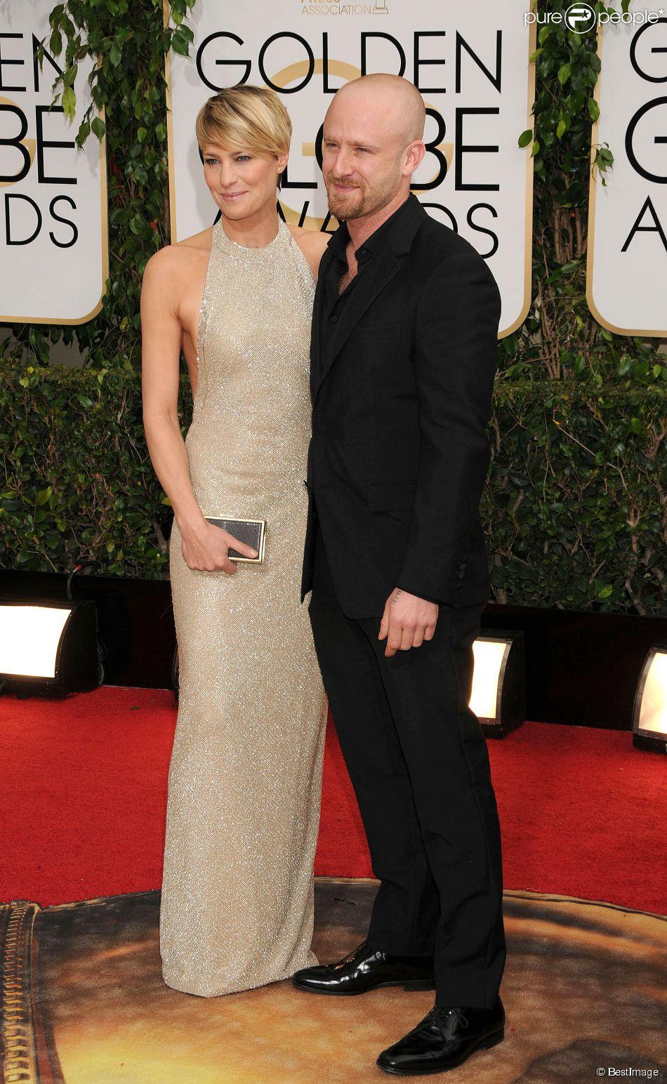 Robin Wright et son fiancé Ben Foster lors de la 71e cérémonie des Golden Globe Awards au Beverly Hilton Hotel à Beverly Hills, le 12 janvier 2014.