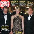 Michael Wittstock en couverture de Point de Vue avec sa fille la princesse Charlene et son gendre le prince Albert II en novembre 2014