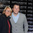 "Norbert Tarayre et Ariane Massenet lors de l'inauguration du restaurant ""Saperlipopette!"" de Norbert Tarayre (Top Chef 3) à Puteaux, le 17 novembre 2014"
