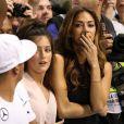 Nicole Scherzinger, en larmes après le titre de champion du monde décroché par son homme Lewis Hamilton lors du Grand Prix d'Abou Dhabi, le 23 novembre 2014