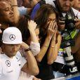 Nicole Scherzinger en larmes après le sacre de son compagnon Lewis Hamilton lors du Grand Prix d'Abou Dhabi, le 23 novembre 2014