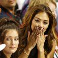 Nicole Scherzinger, émue aux larmes après le titre de champion du monde décroché par Lewis Hamilton lors du dernier Grand Prix de la saison de F1 à Abou Dhabi, le 23 novembre 2014
