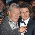 """Sir Ian McKellen et Orlando Bloom à la première du film """"The Hobbit: The Battle Of The Five Armies"""" à Londres, le 1er décembre 2014."""