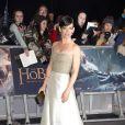Evangeline Lily (en Reem Acra) lors de la première du Hobbit : La Bataille des Cinq Armées (The Hobbit: The Battle OF The Five Armies) à l'Odeon Leicester Square, Londres, le 1er décembre 2014.