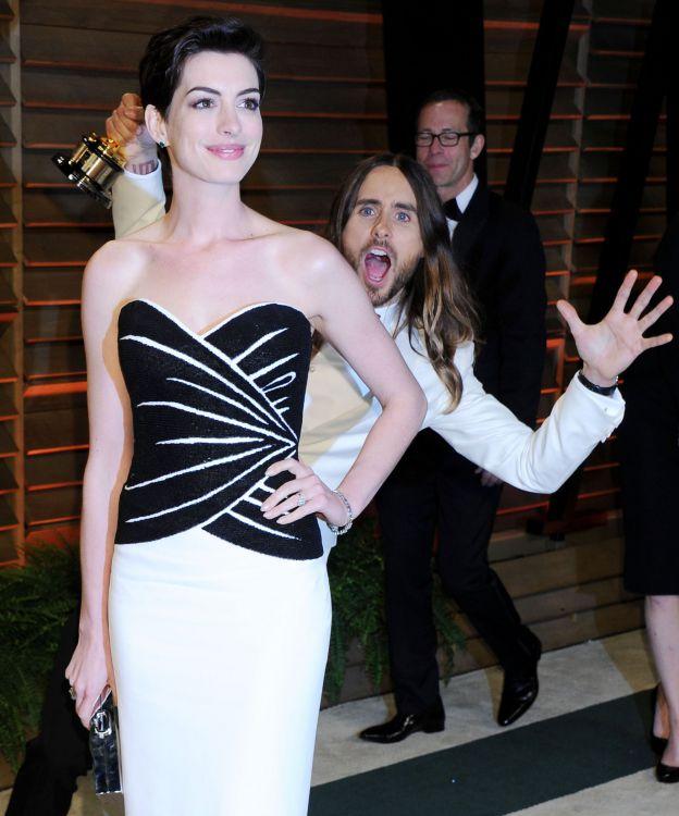 Jared Leto et Anne Hathaway arrivent à la Vanity Fair Oscar Party le 3 mars 2014 à Los Angeles. ©Abaca Press