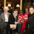 Christophe Laure (Directeur de l'InterContinental Paris le Grand), le professeur Francine Leca, Inès de la Fressange et Sandrine Quétier assistent au coup d'envoi de la vente des Goûters du Coeur au Café de la Paix, Place de l'Opéra à Paris. Le 2 décembre 2014.