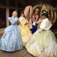 Camille Cerf, pose en compagnie des princesses Disney à Disneyland Paris, le dimanche 7 décembre, peu après son élection.