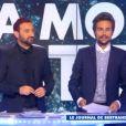 Cyril Hanouna et Bertrand Chameroy, lequel est hypnotosé dans Touche pas à mon poste, le jeudi 4 décembre 2014 sur D8.