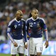 Nicolas Anelka et Thierry Henry lors du match France - Irelande au Stade de France à Saint-Denis, le 18 novembre 2009
