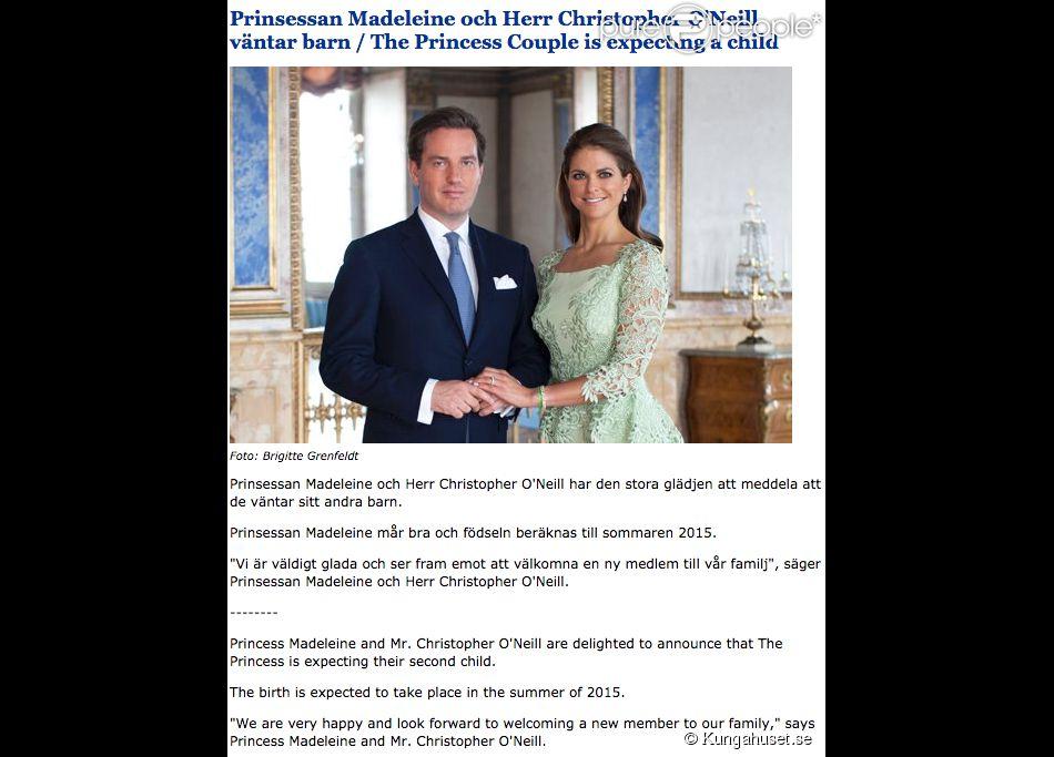 La princesse Madeleine de Suède et son mari Christopher O'Neill ont annoncé le 19 décembre 2014 qu'ils attendent leur deuxième enfant pour l'été 2015.