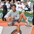 Rafael Nadal, vainqueur de Rolland Garros à l'issue de sa finale face à Novak Djokovic. Paris, le 8 juin 2014.