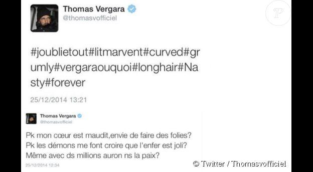 Thomas a tweeté deux mystérieux messages avant de le supprimer. Il semblerait que ces derniers étaient adressés à Nabilla. Le 25 décembre 2014.
