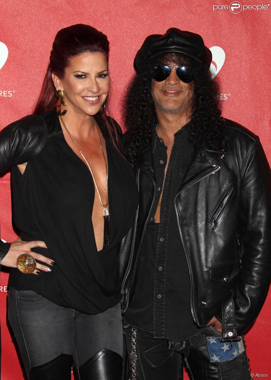 Slash et sa femme Perla à Los Angeles, le 12 mai 2014.