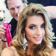 Camille Cerf, Miss France 2015, est partie à Miami pour l'élection de Miss Univers. Janvier 2015.