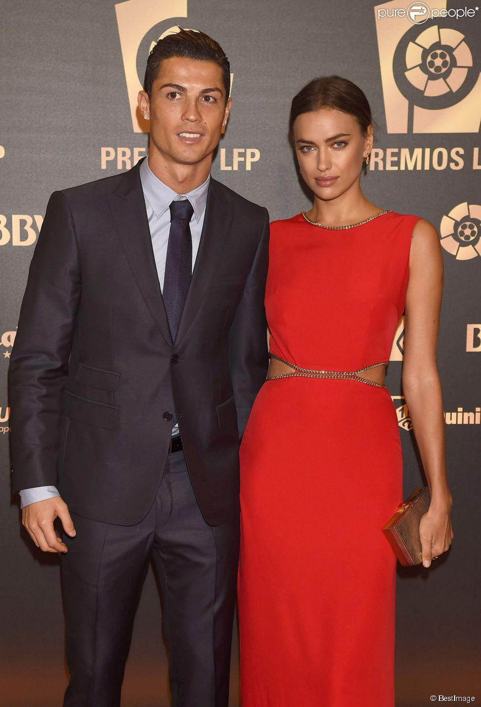 Cristiano Ronaldo et sa compagne Irina Shayk lors de la soirée de gala de la Liga à Madrid le 27 octobre 2014
