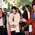 La princesse Stéphanie de Monaco arrivant accompagnée de ses filles Camille Gottlieb et Pauline Ducruet le 18 janvier 2015 au chapiteau Fontvieille, au 4e soir du 39e Festival International du Cirque de Monte-Carlo.