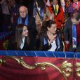 La princesse Stéphanie de Monaco était accompagnée de ses filles Camille Gottlieb et Pauline Ducruet le 18 janvier 2015 au chapiteau Fontvieille, au 4e soir du 39e Festival International du Cirque de Monte-Carlo.