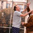 """Michel Leeb, Guy Lecluyse lors du filage de la pièce """"Le Tombeur"""" au théâtre des Nouveautés à Paris le 21 janvier 201"""
