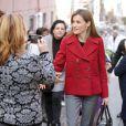 La reine Letizia d'Espagne prenait part le 27 janvier 2015 à une réunion de travail de la Fédération espagnole des maladies rares