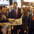 La reine Letizia et le roi Felipe VI d'Espagne inauguraient le 27 janvier 2015 la 35e édition de la FITUR, le grand salon international du tourisme de Madrid.