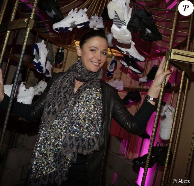 Sandrine Quetier assiste à la soirée de présentation de la collection Reebok Classics X Sandro au Carmen. Paris, le 29 janvier 2015.
