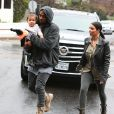Exclusif - Kim Kardashian, Kanye West et leur fille North à Brentwood, Los Angeles, le 10 janvier 2015.